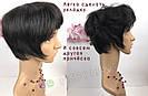 Натуральный парик женский. Короткая стрижка. Чёрный из натуральных волос, фото 3