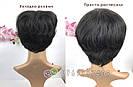 Натуральный парик женский. Короткая стрижка. Чёрный из натуральных волос, фото 6