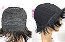 Натуральный парик женский. Короткая стрижка. Чёрный из натуральных волос, фото 8