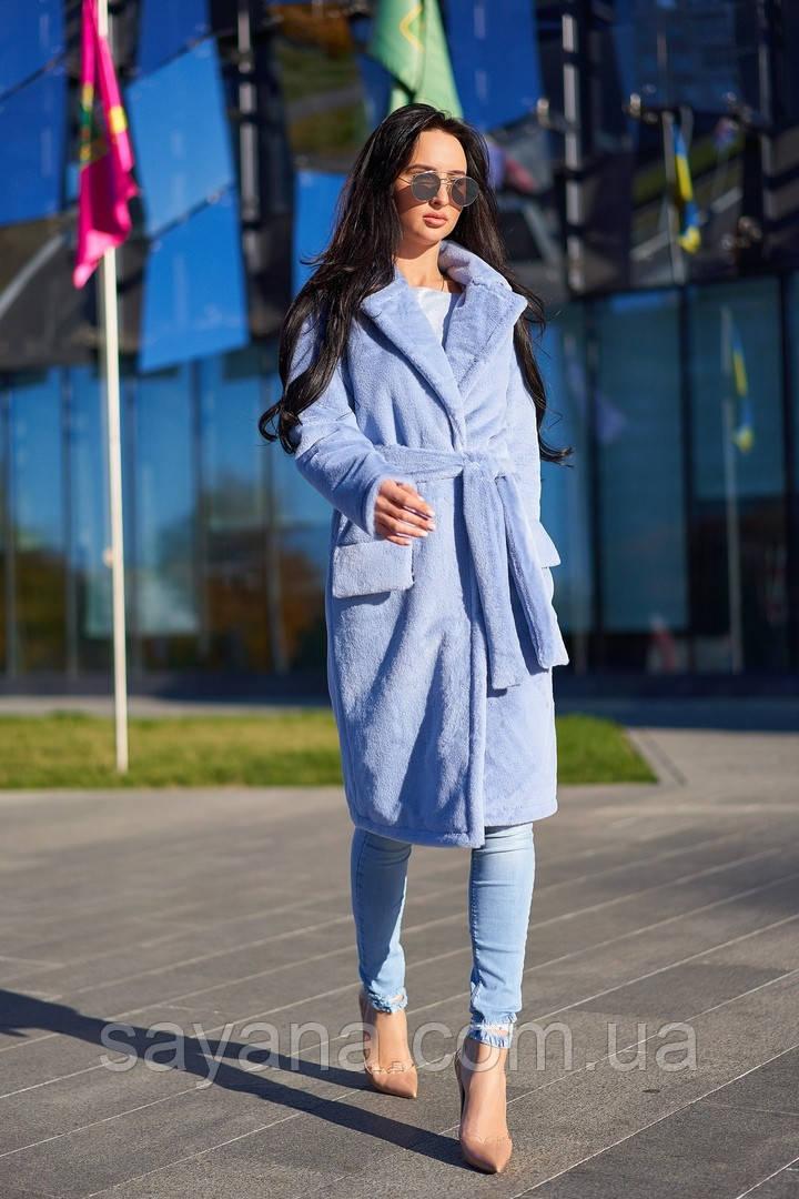 Женская стильная шуба с клапанами над карманами А-3-0118
