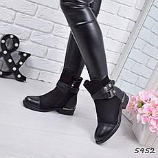 """Ботинки, ботильоны черные ЗИМА """"Jerome"""" эко замша + эко кожа, повседневная, зимняя, теплая, женская обувь, фото 2"""