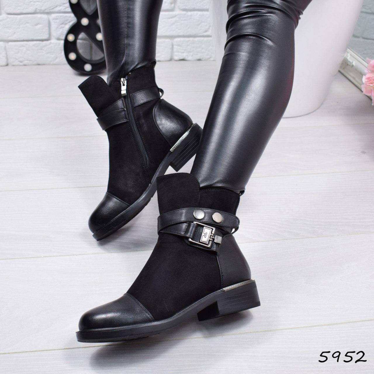 """Ботинки, ботильоны черные ЗИМА """"Jerome"""" эко замша + эко кожа, повседневная, зимняя, теплая, женская обувь"""