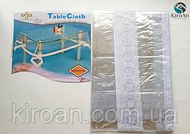Прозрачная силиконовая скатерть с каймой 140х200 см (толщина 0,2мм)