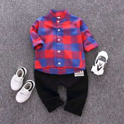 Стильный костюм двойка на мальчика рубашка и штаны  1-4 года, фото 2