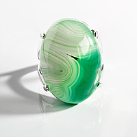 Агат зеленый, 25*18 мм., серебро 925, кольцо, 949КА