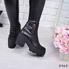 """Ботильоны женские на каблуке, черные """"Chantal"""" эко кожа, повседневная, демисезонная женская обувь, фото 3"""