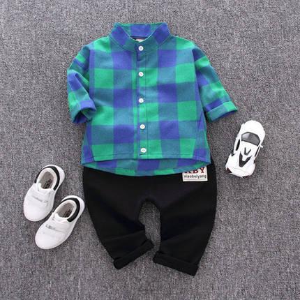 Стильный костюм двойка на мальчика рубашка и штаны зеленый 3 года, фото 2