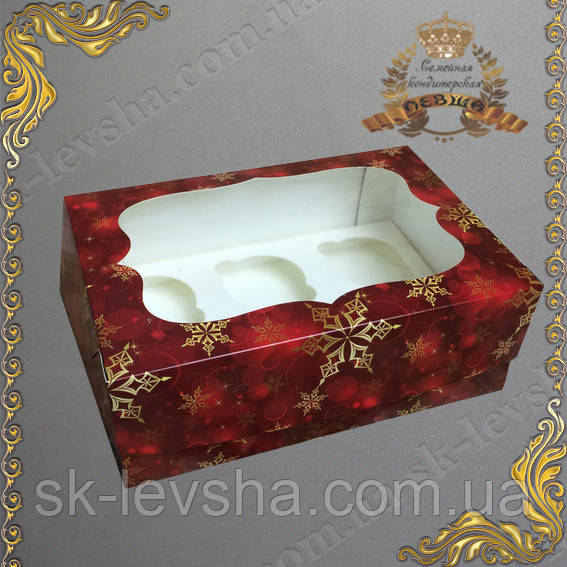 Коробка новогодняя Красный СНЕГ для 6-ти кексов с окном 250*170*90