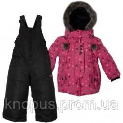 Зимний детский термокомплект X-Trem by Gusti, темно-розовый с меховой опушкой, размер 92