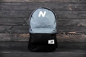 Городской рюкзак, для тренировок, портфель в стиле New Balance, нью бэланс. Серый с черным.