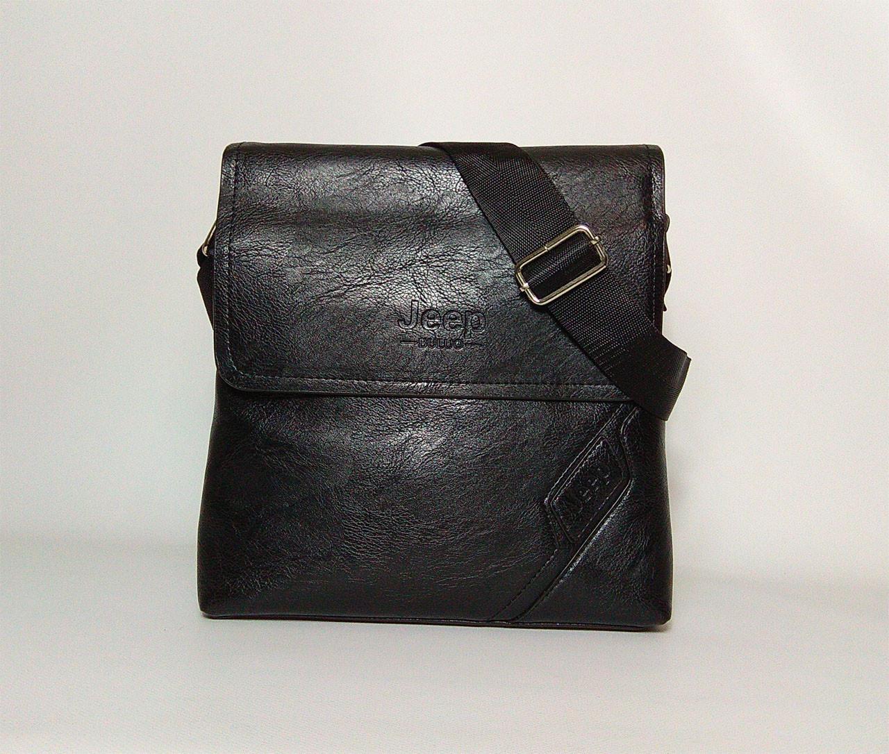 Мужская сумка через плечо в стиле Jeep. Черная. 26x24х5 Кожа PU / 05-2 black