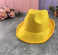 Шляпа твист карнавальная Желтый бархат