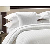 Белое постельное белье сатин страйп Viluta (Двуспальный)