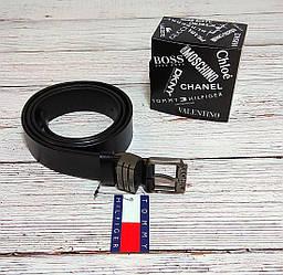 Мужской ремень из натуральной кожи Tommy Hilfiger, томи. Черный + Коробочка / Tommy 8808
