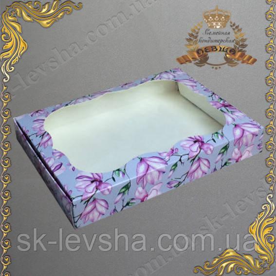 Коробка для пряников Магнолия с окном 150*200*30
