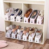 Подставка-органайзер для пары обуви с регулировкой по высоте (коричневый)