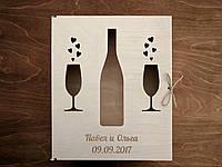 Деревянная подарочная упаковка, коробка, футляр, ящик для бутылки вина и бокалов с Вашей гравировкой