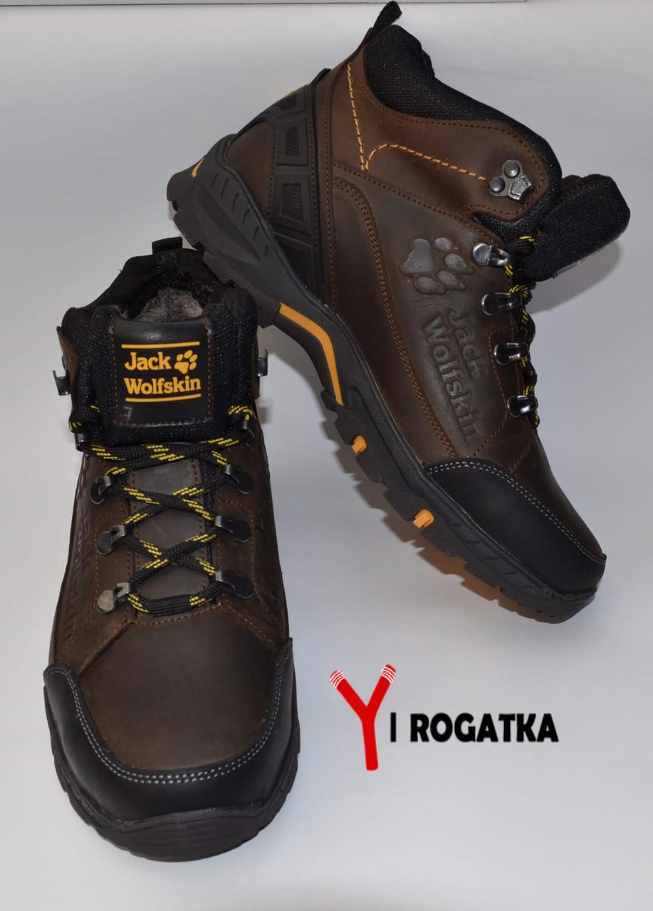Мужские зимние кожаные ботинки, Jack Wolfskin, цвет коричневый, желтые вставки на подошве
