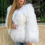 Біла шуба з ЛАМИ 65 см, фото 3