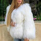 Белая шуба из ЛАМЫ 65 см, фото 4