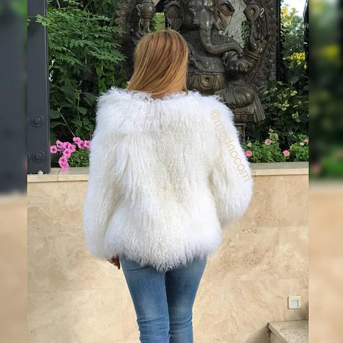 Белая шуба из ЛАМЫ 65 см - фото 5