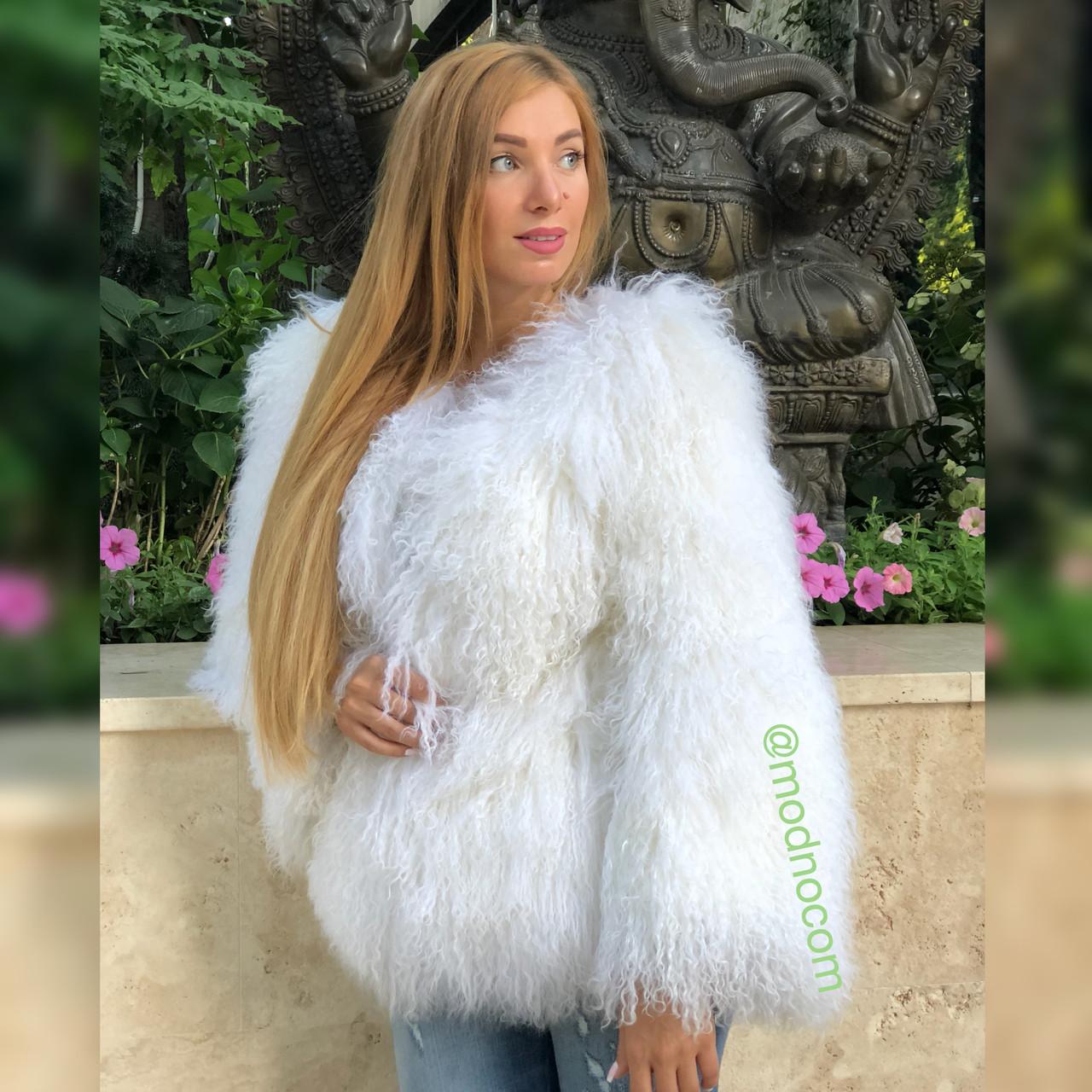 Біла шуба з ЛАМИ 65 см