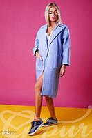 Стильное женское пальто oversize голубого цвета