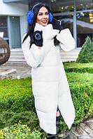 Зимнее стеганое пальто белого цвета