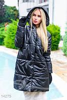 Черное стеганное пальто с капюшоном