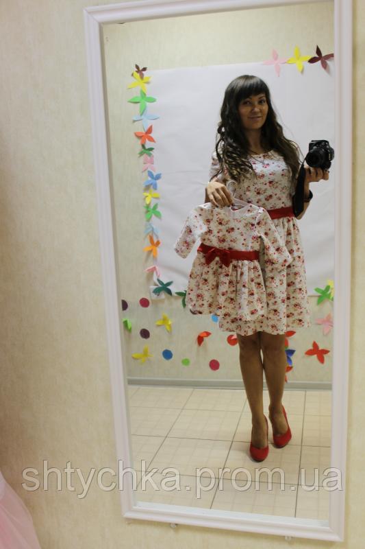 Повседневно - нарядные платья на маму и доченьку лен в красный цветочек с  рукавами df03cee273b