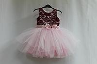 """Нарядное платье на девочку """"Бордо с розовым"""" и бусинками без рукавов"""