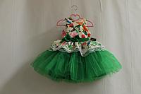 """Нарядное платье на девочку """"Гламурная радость""""  с зеленым низом"""