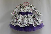"""Нарядное платье на девочку """"Цветочное настроение"""" с пышным фиолетовым подьюпником"""