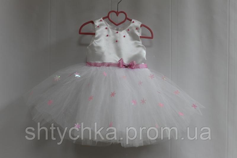 """Нарядное платье на девочку """"Снежинка"""" с розовыми снежинками"""