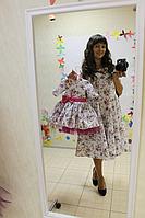 """Нарядные платья на маму и доченьку  """"Цветочное настроение"""" с малиновым поясом  и бантом"""