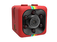Мини камера SQ 11 с ночной подсветкой, датчиком движения и углом обзора 140°  Красный