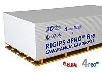 Гіпсокартон вогнестійкий 4PRO 12,5мм 1.2х2.5м Fire-Line Plus Rigips