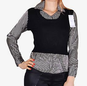 Свитер-рубашка с атласом (W5019) | 6 шт.