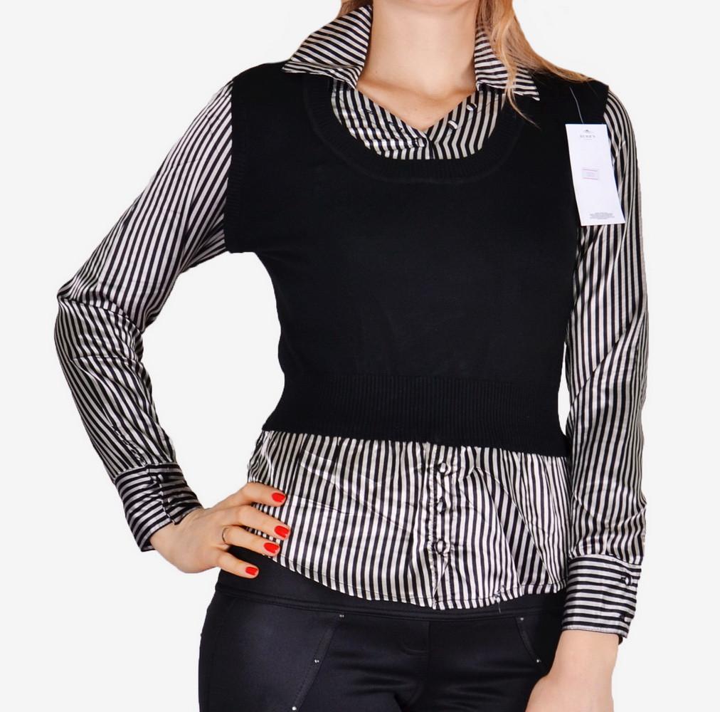 Свитер-рубашка с атласом (арт. W5019)