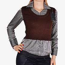 Свитер-рубашка с атласом (W5019) | 6 шт., фото 3