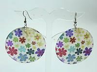 Серьги, перламутр, разноцветные цветы 1_2_15a7
