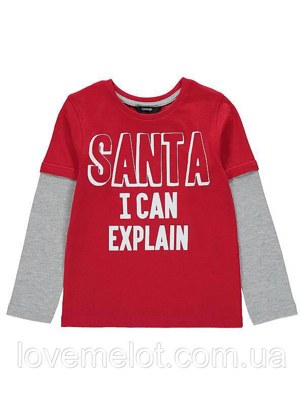 Реглан для мальчика с с длинным рукавом Санта, я могу объяснить», новогодний на 5-6 лет