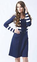 Стильное женское трикотажное платье темно-синего цвета в полоску, с длинным рукавом. Модель 448 Mirabelle