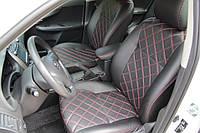 Чехлы на сиденья Рено Клио (Renault Clio) 2002 - ... г (модельные, 3D-ромб, отдельный подголовник)