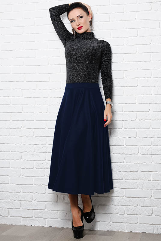Расклешенная юбка Мелисса, темно-синий