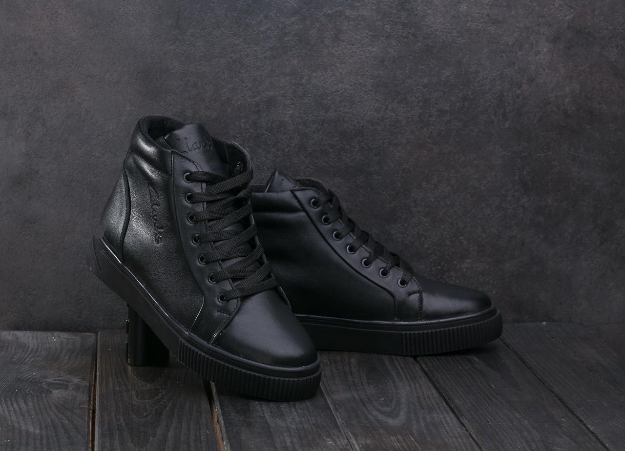 Женские кеды кожаные зимние черные Yuves 590