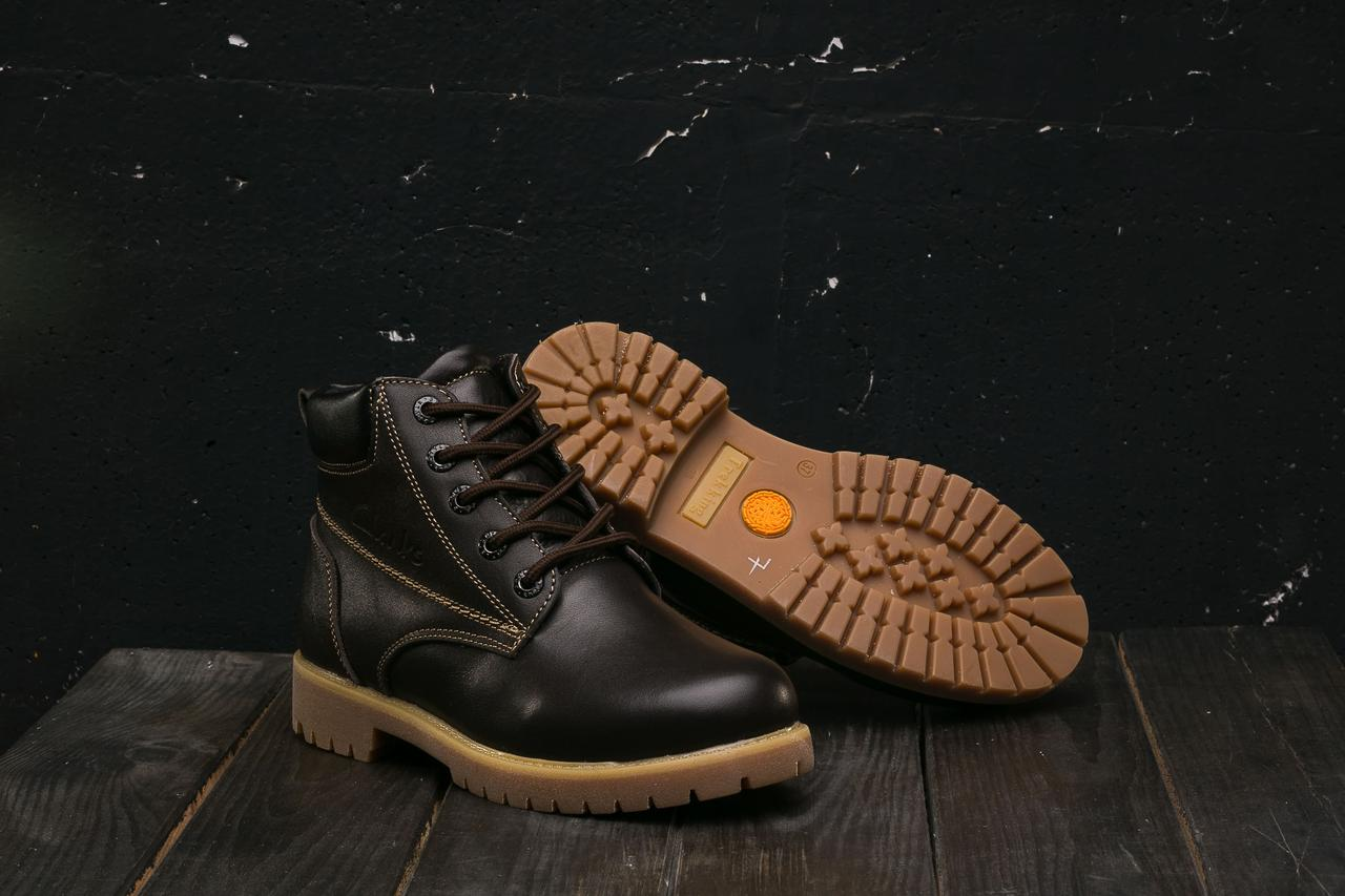 Подростковые ботинки кожаные зимние коричневые Yuves 444