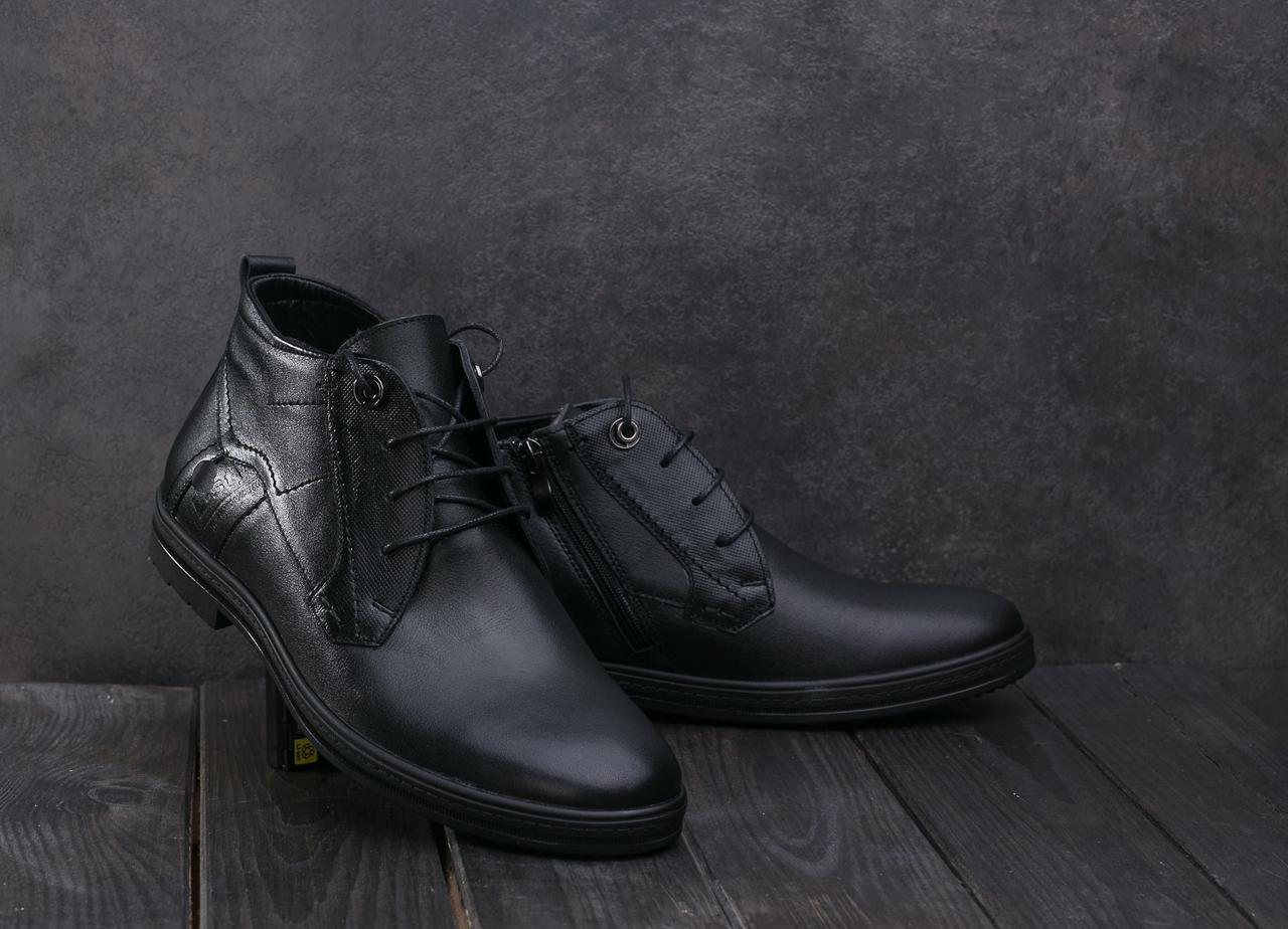 Мужские ботинки кожаные зимние черные L-Style 3589