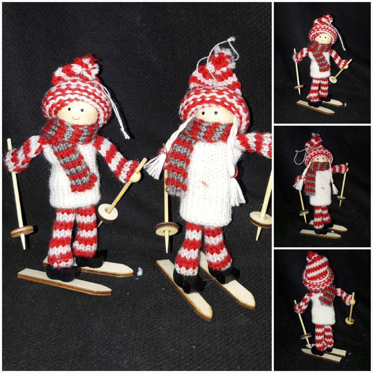 """Новогодняя подвеска """"Девочка на лыжах"""", высота около 15 см., 70/56 (цена за 1 шт. + 14 гр.)"""