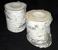 Березовый подсвечник - натуральный декор, выс. 10-15 см, 60/45 (цена за 1 шт. + 15 гр.)